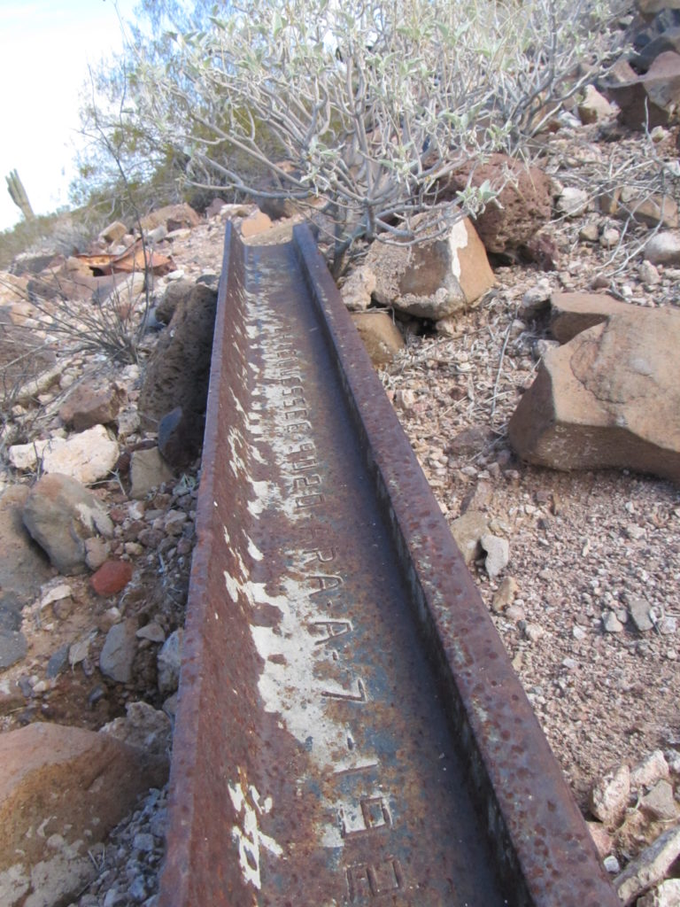 A length of track at the old mine